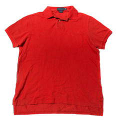 Vintage men's red sort sleeve polo shirt on white background