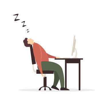 Man Fell Asleep at Computer on White Background