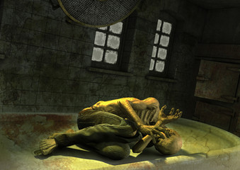 A creepy zombie lay in a table inside a morgue.