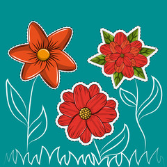 Flowers background cartoons