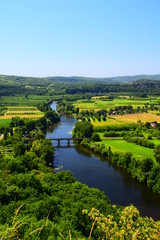 A view of the River Dordogne as taken from the medieval village of Domme in France