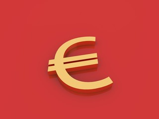 Euro Currency sign on a red background. 3d rendering illustration.