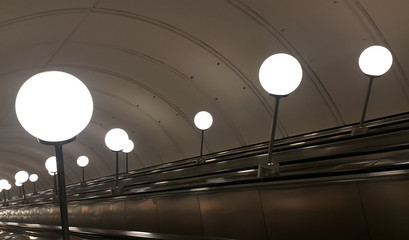 Escalator and lamps
