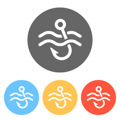 Fishing hook and water. Simple icon. Set of white icons on colored circles