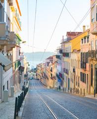 Fototapete - Lisbon Old Town street. Portugal
