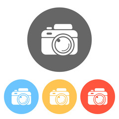 Photo camera, simple icon. Set of white icons on colored circles