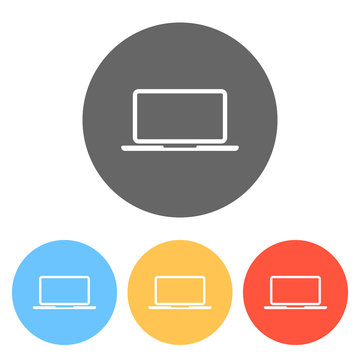 Laptop or notebook computer icon. Set of white icons on colored