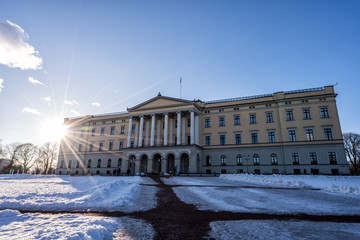 Sunset over the Royal Palace of Norway.