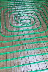 underfloor heating green pipeline installation