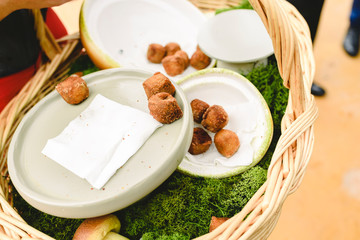 Mediterranean style appetizers served during a party for a caterign.
