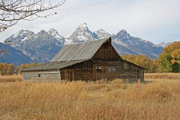 Wooden barn and Teton Range, Wyoming