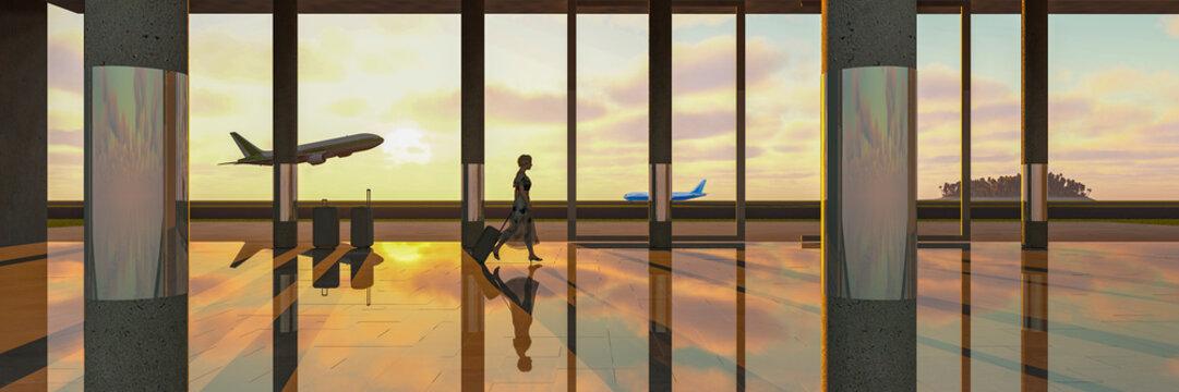 aeropuerto ilustracion 3d