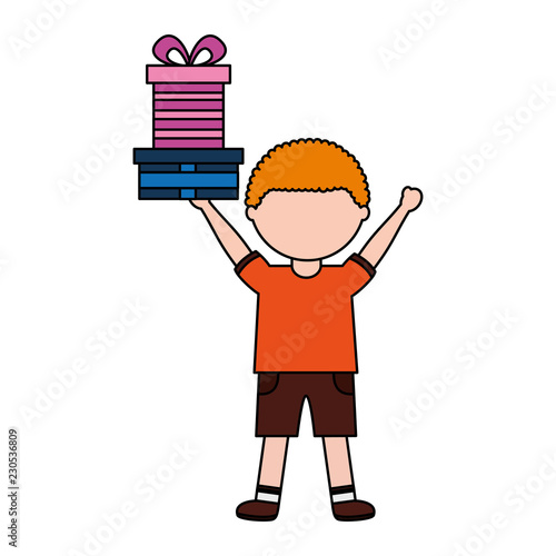 Little Boy Holding Birthday Gift