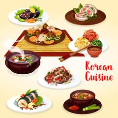 Korean cuisine veggies, meat and fish dishes