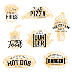 Fast food snack and drinks, vector lettering