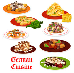 German cuisine meat dishes and desserts