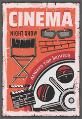 Cinema night movie, film reel, 3d glasses