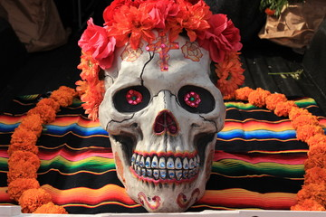 Colorful Sugar Skull in day of the Dead display