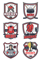 Ice hockey game sport vector icons