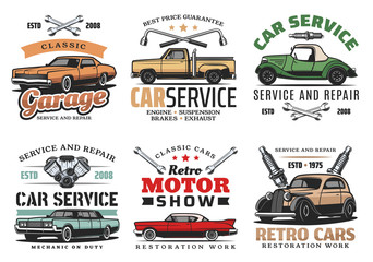 Vintage cars and tools, repair service icons