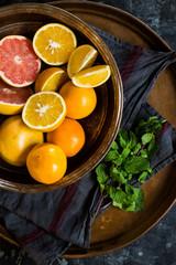 Bowl of various citrus fruits