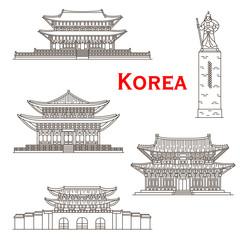 Korean travel landmarks of Seoul gate, palaces