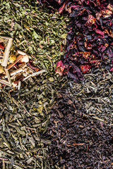 close up of various loose tea