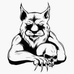 Tiger anger. Vector illustration of a tiger head.