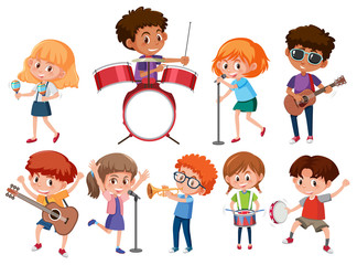 Set of musician kids