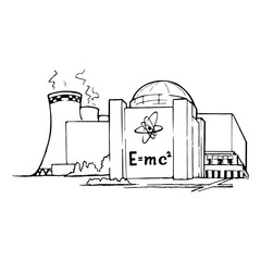 Nuclear power station as an example of relatively clean but potentially risky way of generating electricity. Sketch style drawing isolated on a white background. EPS10 vector illustration