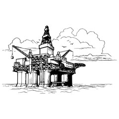 Offshore oil drilling platform. Sketch style drawing isolated on a white background. EPS10 vector illustration