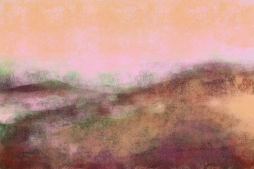 Abstract painterly landscape, imaginative blurred soft focus natural organic forms in hand painted artwork
