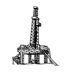 land oil drilling complex also called oil rig. Sketch style drawing isolated on a white background. EPS10 vector illustration