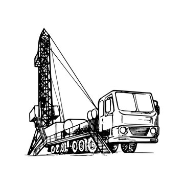 Mobile oil drilling complex. Sketch style drawing isolated on a white background. EPS10 vector illustration