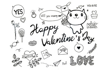 Valentines doodles set with cat character, clipping path