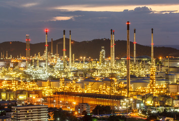 Twilight shot of oil refinery plant.