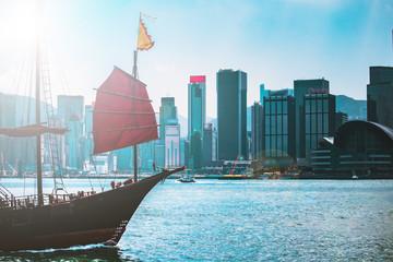 Hong Kong Cityscraper with sun ray