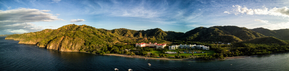 Aerial drone photo of resort hotels on the Pacific Ocean coastline of Costa Rica