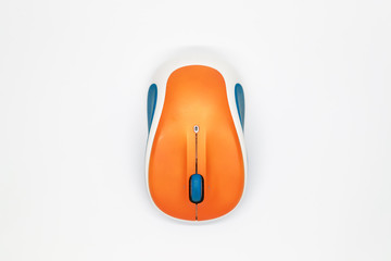 top view wireless mouse on white background.