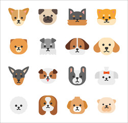Dog faces of various breeds. flat design style vector graphic illustration.