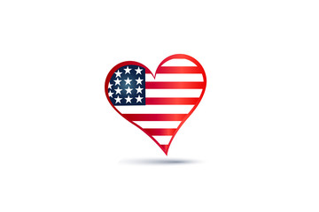 USA flag logo  love heart shape icon vector design
