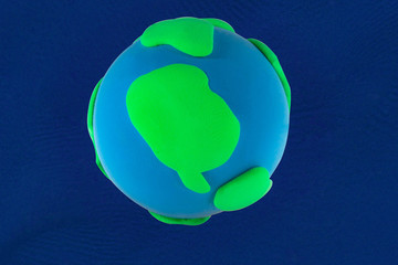 Plasticine blue and green Planet