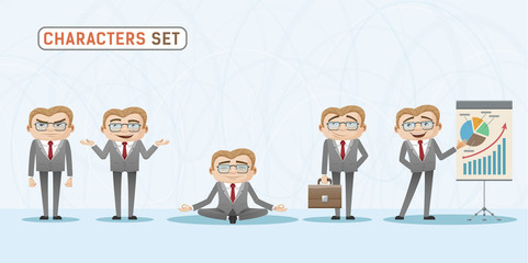 Set of casual emotions and expressions of businessman in office.