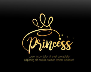 Princess text with gold Gradiant effect for clothes. Kids badge, tag, icon, logo. Great for card, invitation, poster, banner template. Celebration lettering typography. Vector.