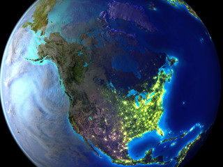 Foto op Plexiglas Body Paint North America on Earth as seen from space.