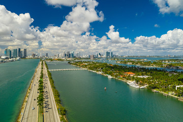 Aerial image Macarthur Causeway Miami and Palm Island
