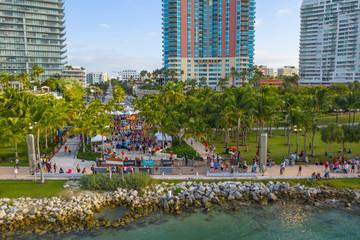 Aerial 2018 Miami Beach Half Marathon finish line South Pointe Park