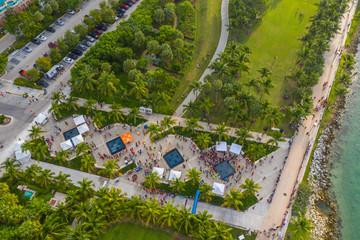 Aerial 2018 Miami Beach Half Marathon finish line South Pointe Park Wall mural