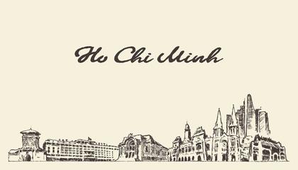 Ho Chi Minh skyline Vietnam vector drawn sketch