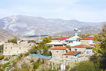 Tuinposter Aziatische Plekken Lagich - a town in the Ismailly region, Azerbaijan. Lahij is a notable place in Azerbaijan, with its authentic handicrafts traditions